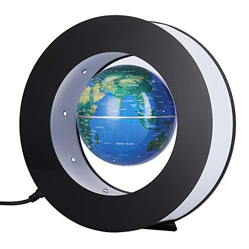 yuyte Globo Flotante Magnético, Mapa Giratorio de Levitación, Geografía Educativa del Globo Terráqueo con luz LED para enseñanza y decoración y Oficina en casa(Turquesa)