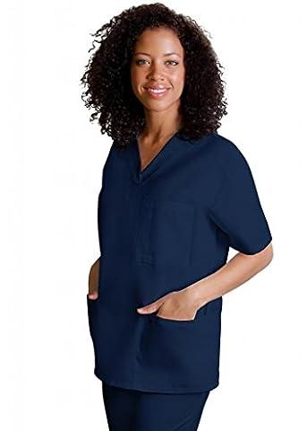 Adar Medical Unisex V-Neck Tunic 3 Pocket Scrub Top - 601 - Navy - XL
