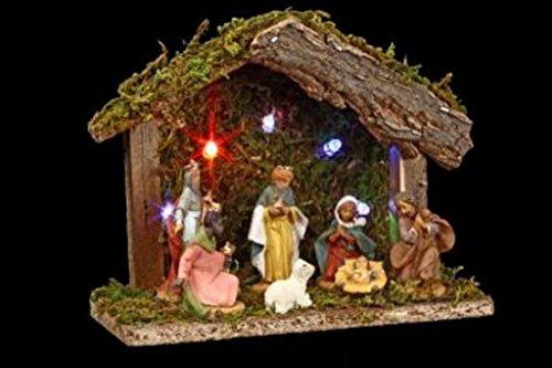 Conjunto de Navidad 3en 1: 1portal de Belén luminoso con 7figuras y luz LED