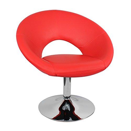 FineBuy Design Loungesessel Kunstleder rot 77 cm Cocktailsessel 100 kg belastbar | Clubsessel mit Trompetenfuß | Designersessel drehbar