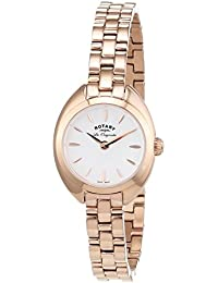 Rotary Lucerne Women's Quartz Watch with White Dial Analogue Display and Rose Gold Stainless Steel Bracelet LB90161/02