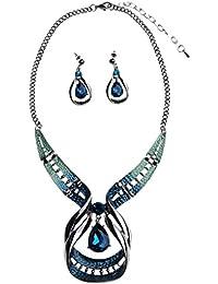 Bobury Oído Collar de Estilo étnico Retro Pendientes Kit Mujeres Galvanizado Crystyal Collar de la Joyería de los Anillos La Exageración