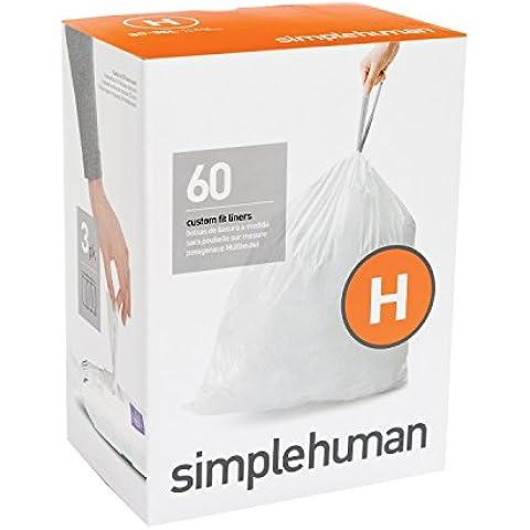 Plástico Código simplehuman H Custom Fit Bin Liner, Paquete de 60, White