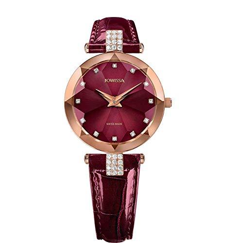 Jowissa Facet Strass Swiss J5.624.M - Reloj de Pulsera para Mujer, Color Burdeos y Rosa