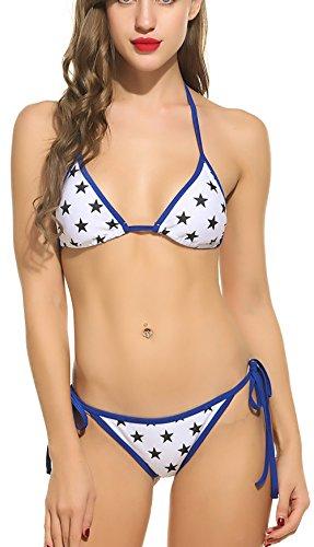 Kostüme Boyleg Damen Schwimmen (OURS Frauen Halter Schn¨¹ren Sich Oben Aufgef¨¹lltes Stern Muster Bikini)