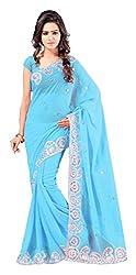 Aruna Sarees Womens Georgette Saree with Blouse Piece (Blue)