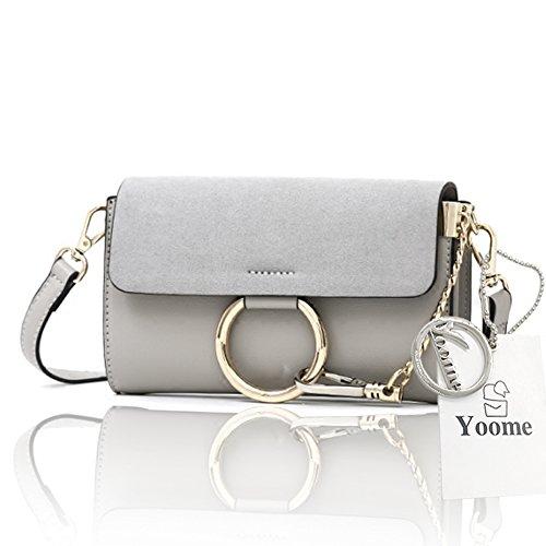 Borsa a tracolla in ottone Yoome Borsa a tracolla circolare Anello per borse per donne Borse mini borse per adolescenti - Nero Grigio