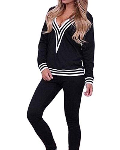 ZANZEA Women's Sexy 2PCS Casual Sport Wear Tracksuit Deep V-Neck Long Sleeve Tops+Pants Suit Test