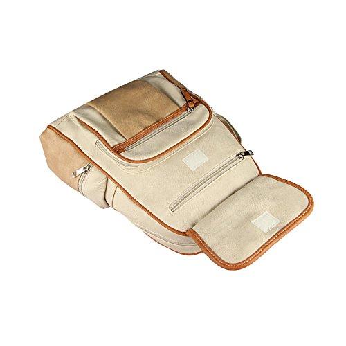 OBC ECHTES Leder Rucksack Cityrucksack City Tasche Stadtrucksack BackPack SchulterTasche Organizer Tablet Ipad mini bis ca. 10 Zoll (Schwarz V5) Beige-Cognac 30x32x15