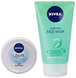 Nivea Soft Light Moisturising Cream, 300ml with Nivea Purifying Facewash, 150ml