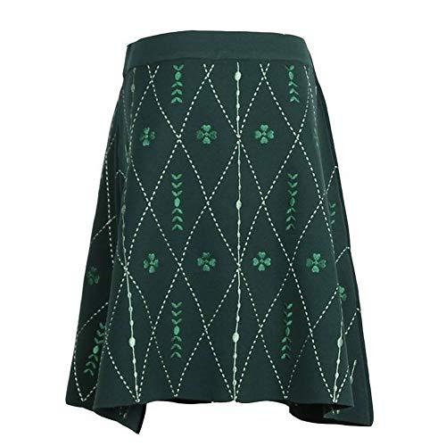 Good dress Frauen Mode Lingge Clover Pure Stickerei Allgleiches Strickrock, Grün, m -