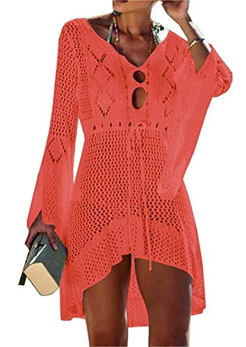 Dreamlove Damen Bathing Suit Cover Up Beach Bikini Lace Crochet Hollow Out Swimsuit Cover Ups Boho Weben Einzigartig Bikini Cover Up Sommerkleid Strandkleid Lang - One Size Orange - Beach Bikini Cover