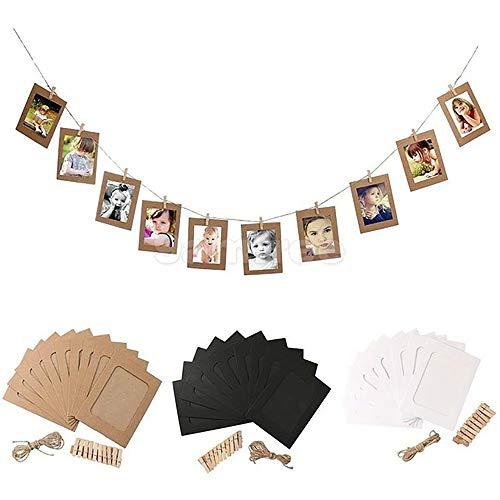 Pucidder Papier-Bilderrahmen mit 30 Stück Mini-Holzclip und Jute-Seil 30 Stück 6 Zoll zum Aufhängen von Kunstwerken Druckt Weihnachtsdekorationen (Braun, Schwarz, Weiß)