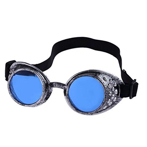 Yibaision Steampunk Brille Cyber Brille Viktorianischen Punk Stil Schweißen Cosplay Gothic Goth Rustikale Rivet Vintage Runde Rave Neuheit (,E)