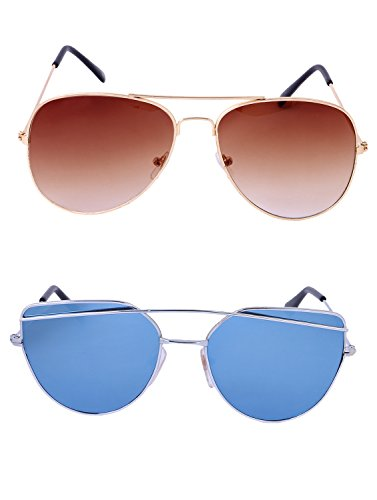 Amour-propre AmourPropre Multicolor UV Protected Unisex sunglasses Pack of 2_(AM_CMB_LP_3393)