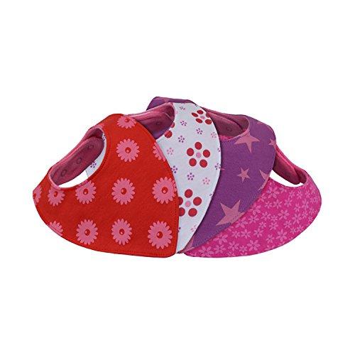 Dreieckstuch Baby - saugstark weich doppellagig - 4er Set - größen-verstellbar über 6 nickelfreie Druckknöpfe - Geschenk-Box - Bandana Halstuch Spucktuch Sabber-Lätzchen -Maedchen Kleinkinder Babys