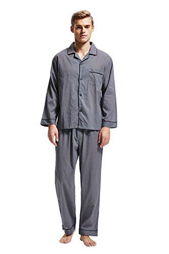 Herren Schlafanzug Baumwolle Langarm Pyjama mit Hosen Klassische Nachtwäsche Zweiteiliger von Tony & Candice (Grau, M) (Herren-nachtwäsche Grau)