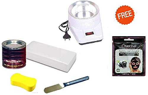 Titiksha Combo Pack of Chocolate Wax,Waxing Strips,Knife Spatula and Oil Heater (White, 600 Gms)