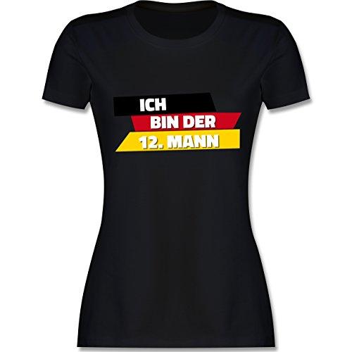 Fußball-WM 2018 - Russland - Ich Bin der 12. Mann Deutschland - Damen T-Shirt Rundhals Schwarz