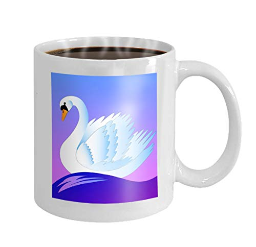 11 oz Coffee Mug swan beautiful white floating blue waves dawn Novelty Ceramic Gifts Tea Cup Blue Dawn Cup