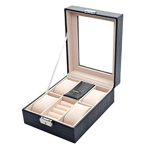 Uotyle Uhrenbox für Männer Frauen Kunstleder Uhrenbox 4 Abschnitte Dekorative Schmuck Display Schublade Abschließbare Fall Organizer Boxen (Schwarz) -