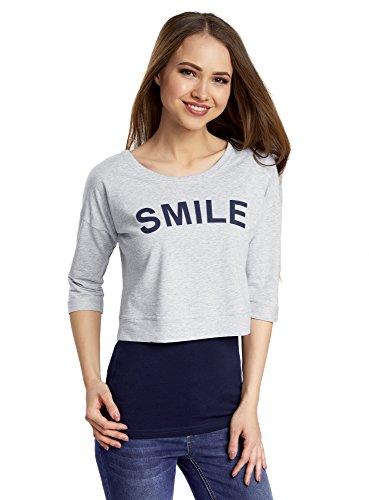 oodji Ultra Donna T-Shirt Multistrato con Maniche a 3/4, Grigio, IT 46 / EU 42 / L