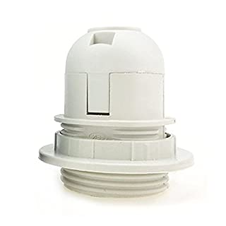 Ainstsk E27 Light Bulb Holder,1PC Multi-function Small E27 Screw Light Bulb Holder Pendant Socket Lampshade Collar Ring (White Black) (White)