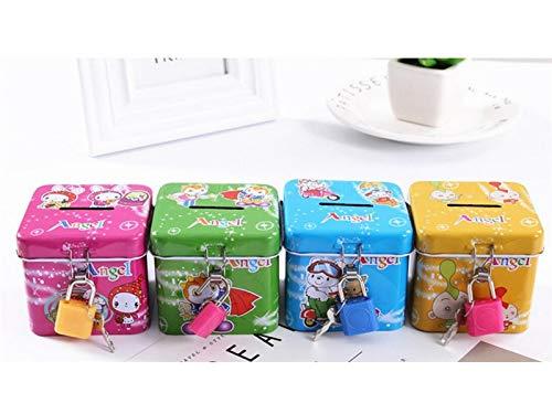 Gootuouou creativo cartoon piggy bank square latched money jar (multicolore) (dimensione : 6x6x6cm)