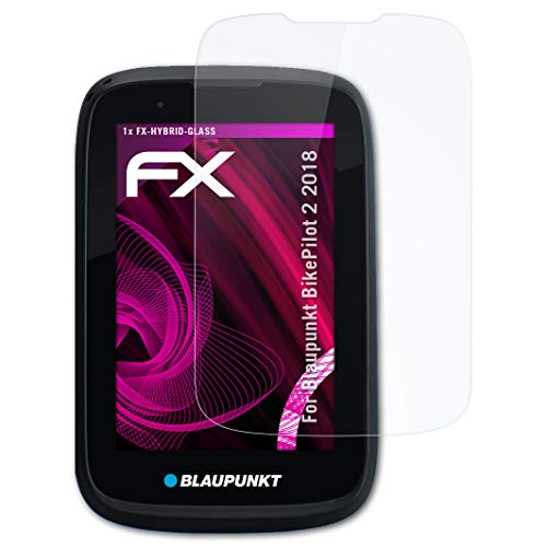 atFoliX Glasfolie kompatibel mit Blaupunkt BikePilot 2 2018 Panzerfolie, 9H Hybrid-Glass FX Schutzpanzer Folie