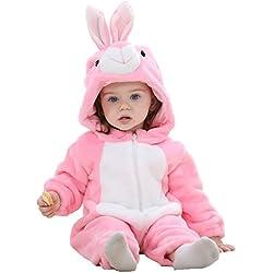 MICHLEY Bambino Pagliaccetto Animale Autunno inverno vestiti infantile Flanella Ragazze Costume fentu-90cm