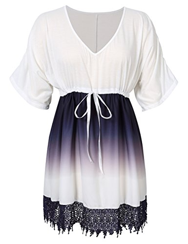 KoJooin Damen Plus Size V-Ausschnitt Gradient Spitze Bluse T Shirt Tops Longshirt Shirtkleid Strandabdeckung Mini Kleid Weiß 5XL (Size Plus T-shirt-kleider)