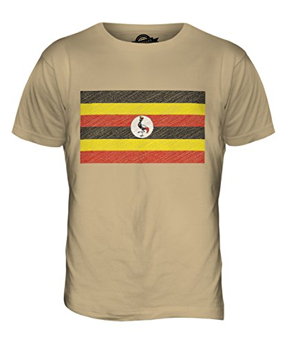 CandyMix Uganda Kritzelte Flagge Herren T Shirt Sand
