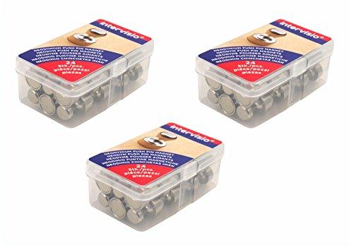 Preisvergleich Produktbild 72 Stück Neodym Magnete für Pinnwand Whiteboard Magnettafel / Sehr starker Push Pin N35 Kegelmagnete Set / NICHT für Glasmagnetboards bzw. Glasmagnettafeln geeignet! intervisio