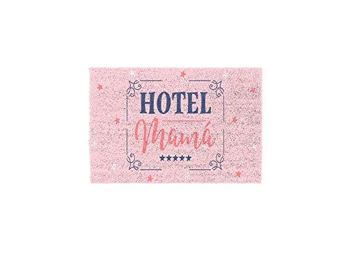D'CASA Felpudo con diseño Hotel Mama Color Rosa