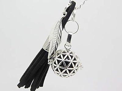 Bola de Grossesse Argent Plaqué Personnalisable pompon noir charm plume cadeau future maman cadeau grossesse baby shower
