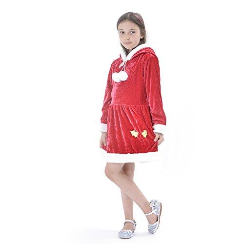 IKALI Costume da Babbo Natale per Bambini, Vestito da Santa per Ragazze