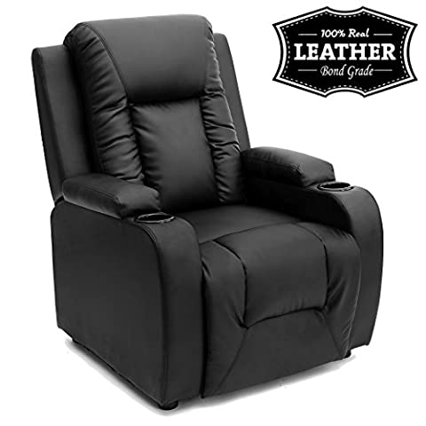 OSCAR LEATHER RECLINER w DRINK HOLDERS ARMCHAIR SOFA CHAIR RECLINING