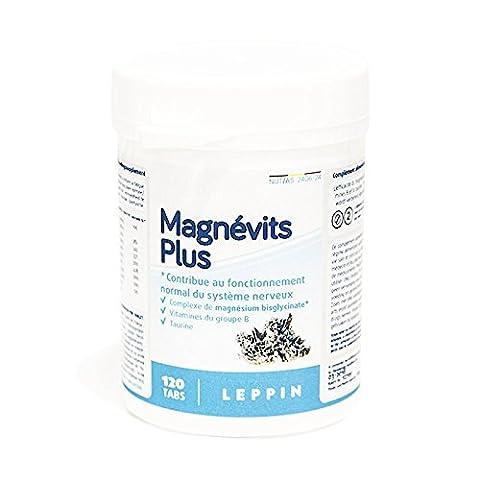 LEPPIN - Magnévits Plus 120 comprimés -Complexe de BISGLYCINATE DE MAGNÉSIUM 900mg + VITAMINES B + TAURINE - Haute biodisponibilité - Compléments alimentaires