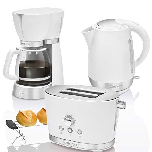 CTC Set Desayuno Vintage, Cafetera de goteo 15 tazas, Tostadora de pan 2 rebanadas, Hervidor de agua eléctrico 1,7 litros, blanco estilo Retro