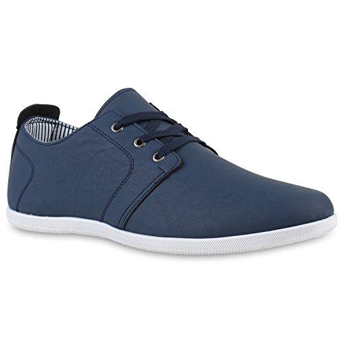 Bequeme Herren Sneakers Basic Sportschuhe Schnürer Freizeitschuhe Dunkelblau Dunkelblau