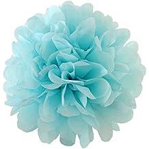 10 hojas de papel de seda para pompones, decoración para fiesta de bodas (celestes, 20,3cm)