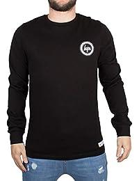 Hype Homme Longsleeved Crest Logo T-shirt, Noir