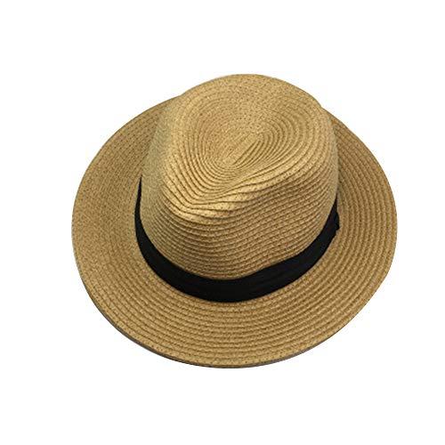 GAOXUQIANG Unisex Stroh Sommer Fedora, Panama Trilby Sonnenhut mit breitem schwarzem Band und breiterer Krempe,Brown,L