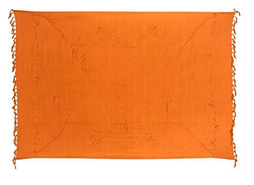 Sarong Pareo Wickelrock Strandtuch Lunghi Stickerei Tuch Schlicht Uni Orange