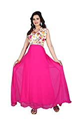 19 Likes Party Wear Green Georgette Printed Semistitched Gown