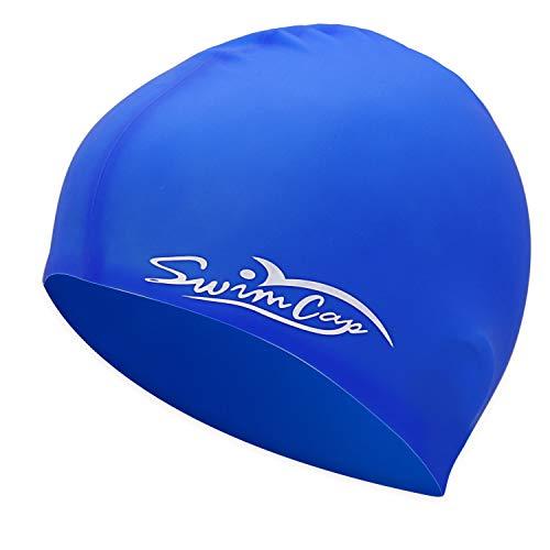YoJetSing Badekappe Schwimmkappe Silikon Badehaube Schwimmhaube für Kurze und Lange Haare für Herren und Damen (Blau)