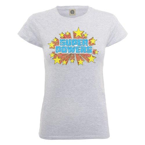DC Universe Damen T-Shirt Dc Comics Official Super Powers Logo Crackle Womens T-shirt Grau - Erika-Grau