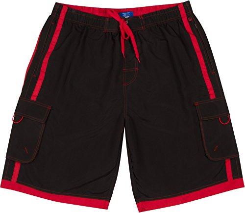 Sakkas Hommes Boardshort / Maillot de Bain Planche Patins Rayures Contrastées Noir rouge