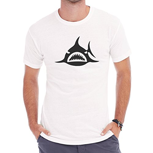 Shark Sea Fish Predator Black Logo Herren T-Shirt Weiß