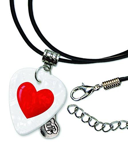 Rot Love Herz Emoticon weiß Perle Gitarre Plektrum Schnur Halskette